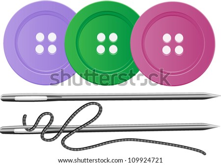 Needle and Thread with three buttons,Sewing,Vector EPS10 - stock vector