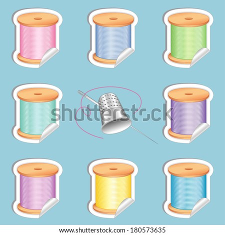 Needle and Threads White Border Stickers, Silver Thimble. 8 pastel colors for sewing, tailoring, quilting, crafts, needlework, do it yourself fashion. Isolated on aqua background. EPS8 compatible. - stock vector