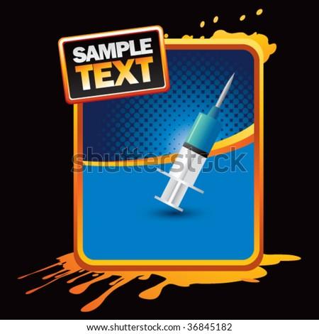 needle syringe grunge template - stock vector