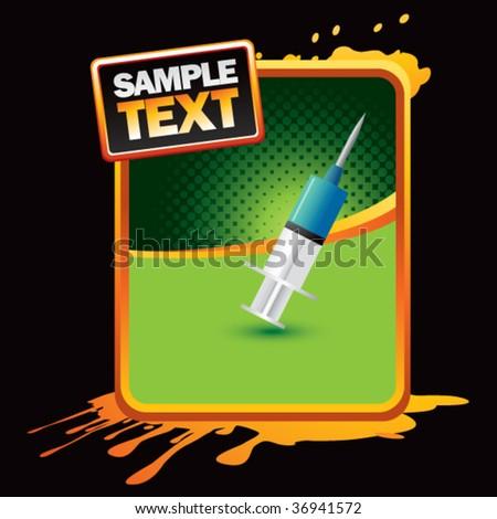 needle syringe orange splattered banner - stock vector