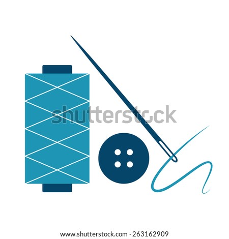 Needle, thread and button isolated on white background - stock vector