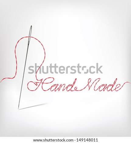 Needle with thread  hand made. Vector illustration - stock vector