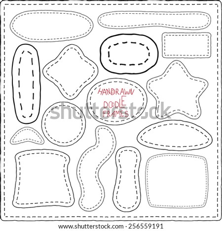 Needlework Labels. Hand-drawn doodles and design elements, patchwork quilt. Ornate frames, banners and ribbons isolated. - stock vector