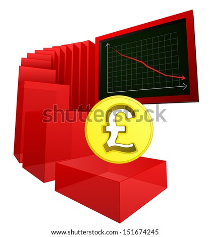 negative business banking results of british pound vector illustration - stock vector