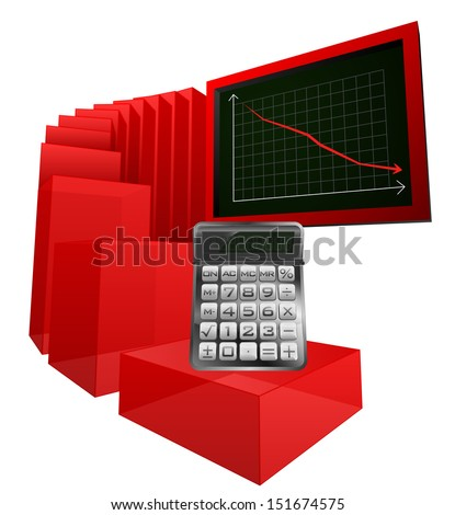 negative business calculations results vector illustration - stock vector
