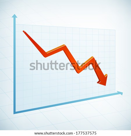 Negative business graph width red arrow vector icon - stock vector
