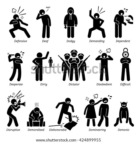 Negative Personalities Character Traits. Stick Figures Man Icons. Starting with the Alphabet D. - stock vector