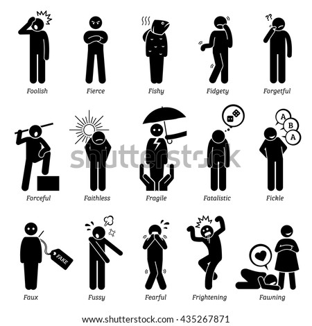 Negative Personalities Character Traits. Stick Figures Man Icons. Starting with the Alphabet F. - stock vector