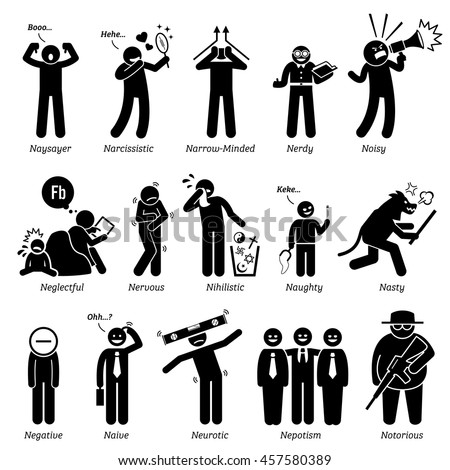 Negative Personalities Character Traits. Stick Figures Man Icons. Starting with the Alphabet N. - stock vector