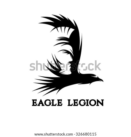 negative space vector concept of warrior head in eagle - stock vector