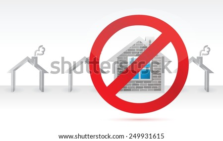 negative to a home. real estate concept illustration design over a white background - stock vector