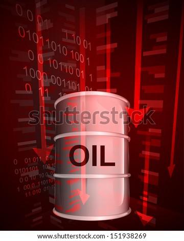 negative value decrease of oil goods vector illustration - stock vector