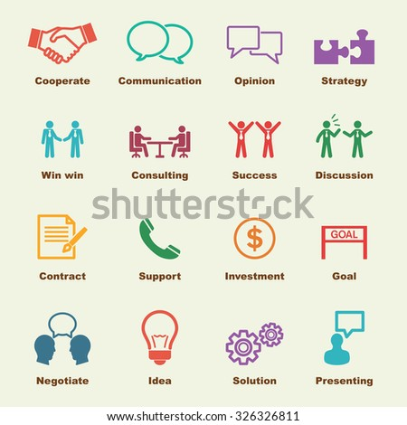 negotiation elements, vector infographic icons - stock vector
