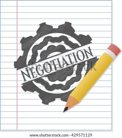 Negotiation with pencil strokes - stock vector