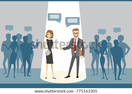 Negotiations between business groups, successful work,cartoon business people,flat vector illustration