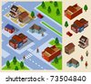 Neighborhood Isometric. Set of very detailed isometric vector - stock vector