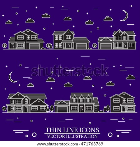 Neighborhood with homes illustrated on white and purple background. Vector thin line icon suburban american houses day, night. For web design and application interface, also useful for infographics.