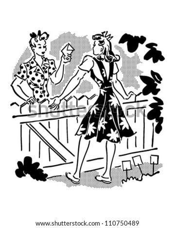 Neighbors Chatting Over Fence - Retro Clipart Illustration - stock vector