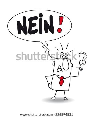 Nein. Joe says No in german. He is disagree - stock vector