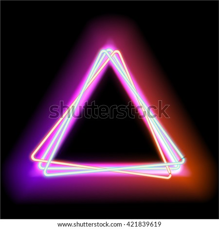 neon abstract triangle background for your design luminous electric triangle frame with empty place