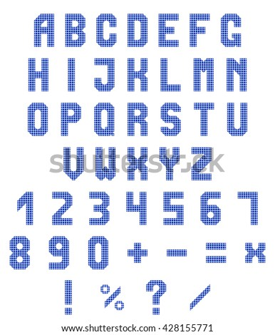 Neon alphabet and numbers on a white background. Blue neon gradient. Vector illustration
