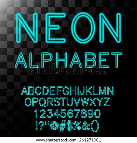 Neon alphabet in cyan color. Vector illustration. - stock vector