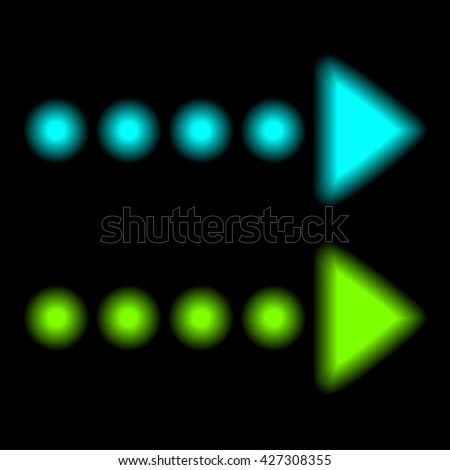 Neon arrow. Blue and green arrows. Neon isolated on black background. Vector illustration.