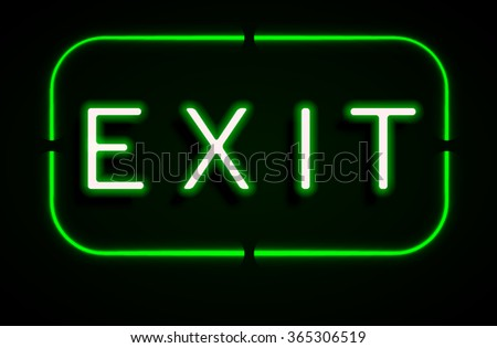 Neon banner on text exit background.vector
