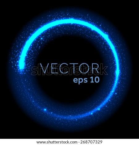 Neon blue glittering star dust circle - stock vector