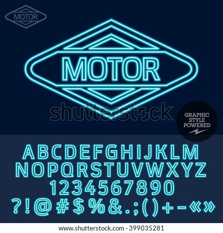 Neon blue logotype for motor shop. Vector set of letters, numbers and symbols. - stock vector