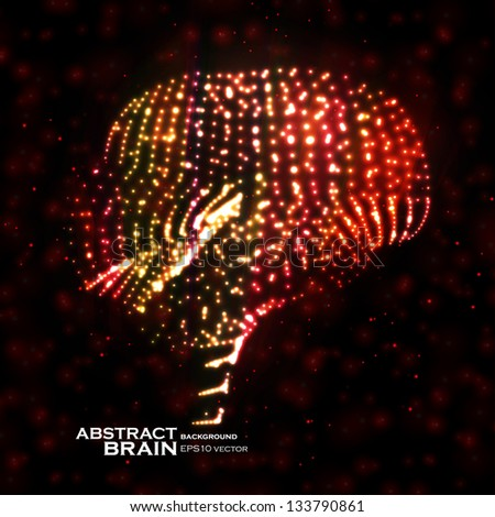 Neon brain, abstract vector illustration, bright elements - editable eps10 - stock vector