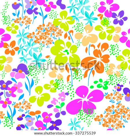 neon bright ditsy floral print ~ seamless background - stock vector