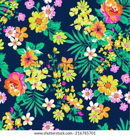 Neon bright floral print ~ seamless vector background - stock vector