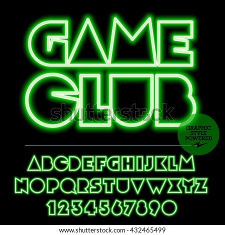 Neon bright set of alphabet letters, numbers and punctuation symbols. Vector light up green logo with text Game club - stock vector