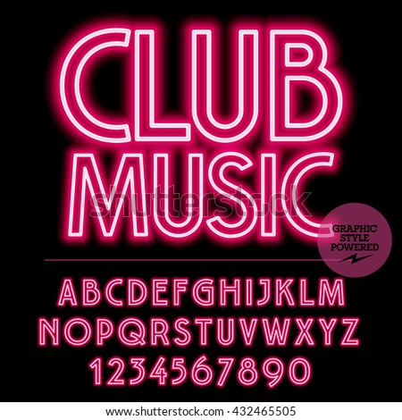 Neon bright set of alphabet letters, numbers and punctuation symbols. Vector light up red logo with text Club music