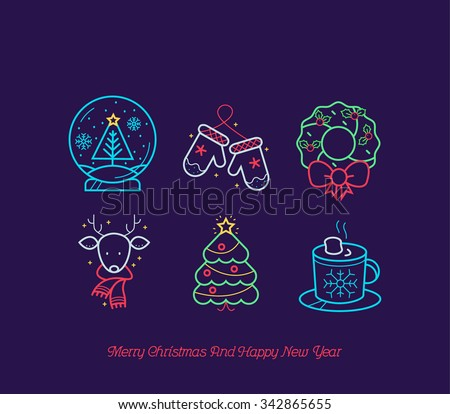 Neon Christmas icon Collection - stock vector
