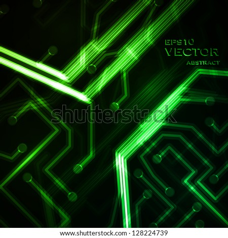 Neon circuit board, abstract vector background, technology illustration eps10