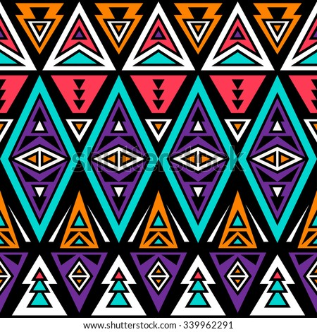 neon color tribal seamless pattern. aztec fancy abstract geometric art print. ethnic hipster backdrop.  Wallpaper, cloth design, fabric, paper, wrapping, textile design template. - stock vector