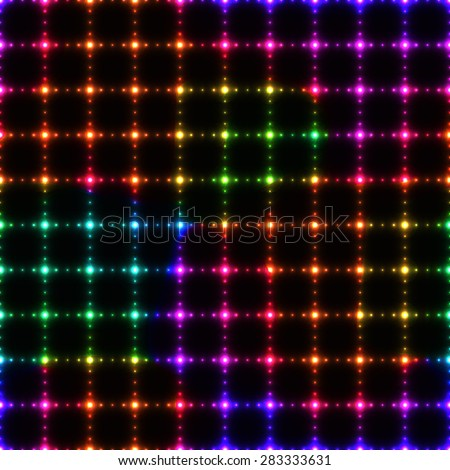 Neon colorful LED wall from dots on dark background - seamless background - stock vector