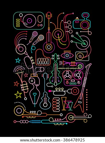 Neon colors on a black background Abstract art vector collage of various musical instruments and equipment. - stock vector