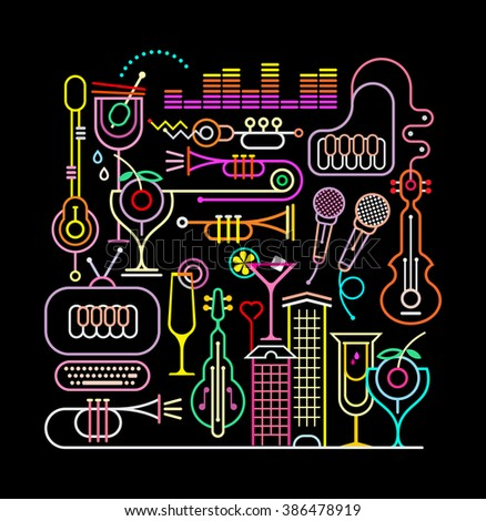 Neon colors on a black background music party vector illustration. - stock vector
