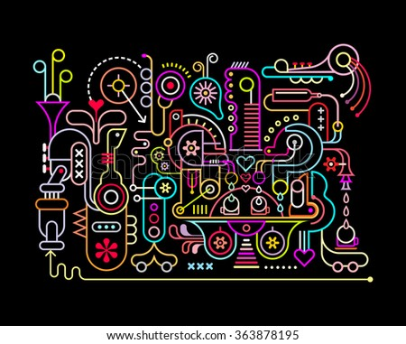 Neon colors on a black background Music Studio vector illustration. - stock vector