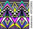 neon colors tribal Navajo vector seamless pattern with doodle elements. aztec abstract geometric art print. ethnic hipster backdrop. Wallpaper, cloth design, fabric, paper, cover, textile. Hand drawn - stock vector