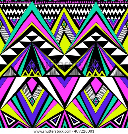 Multicolor Tribal Navajo Vector Seamless Pattern Stock #0: stock vector neon colors tribal navajo vector seamless pattern with doodle elements aztec abstract geometric