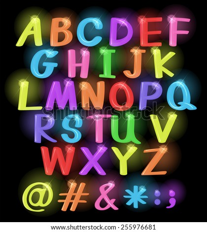 Neon coloured letters of the alphabet - stock vector