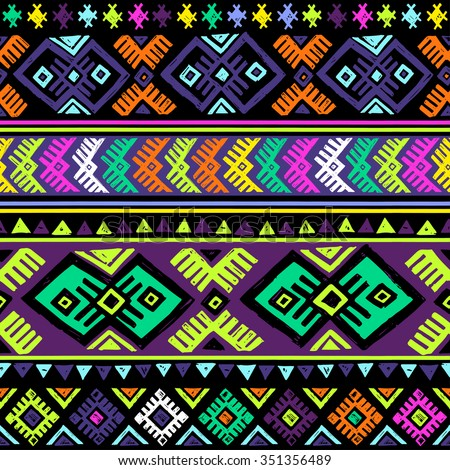 neon dark multicolor tribal seamless pattern. aztec fancy abstract geometric art print. ethnic hipster backdrop. Wallpaper, cloth design, fabric, paper, wrapping, textile design. hand drawn.   - stock vector