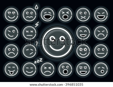 Neon emotions set. Set of emoticons, glowing emoji isolated on black background. Neon emoticon face. emotion icon.  - stock vector