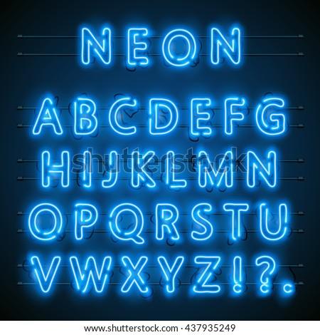 Neon font city. Neon blue font english. City blue font. Alphabet font. Vector illustration - stock vector