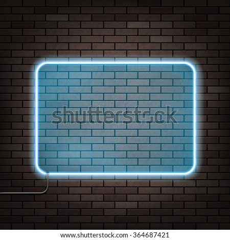 Neon frame hanging on the brick wall. Stock vector illustration. - stock vector