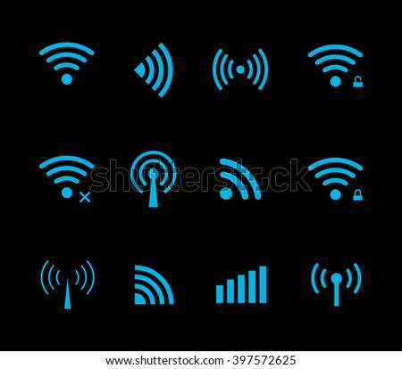 Neon futuristic vector wireless and wifi icon for remote access and communication via radio waves. Wireless logo. Set of indicators. Wi-fi logo. Remote icon. Bar element, internet load. Free wifi icon - stock vector